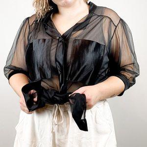 Vintage Jill Andrea Sheer Blouse Black Medium M